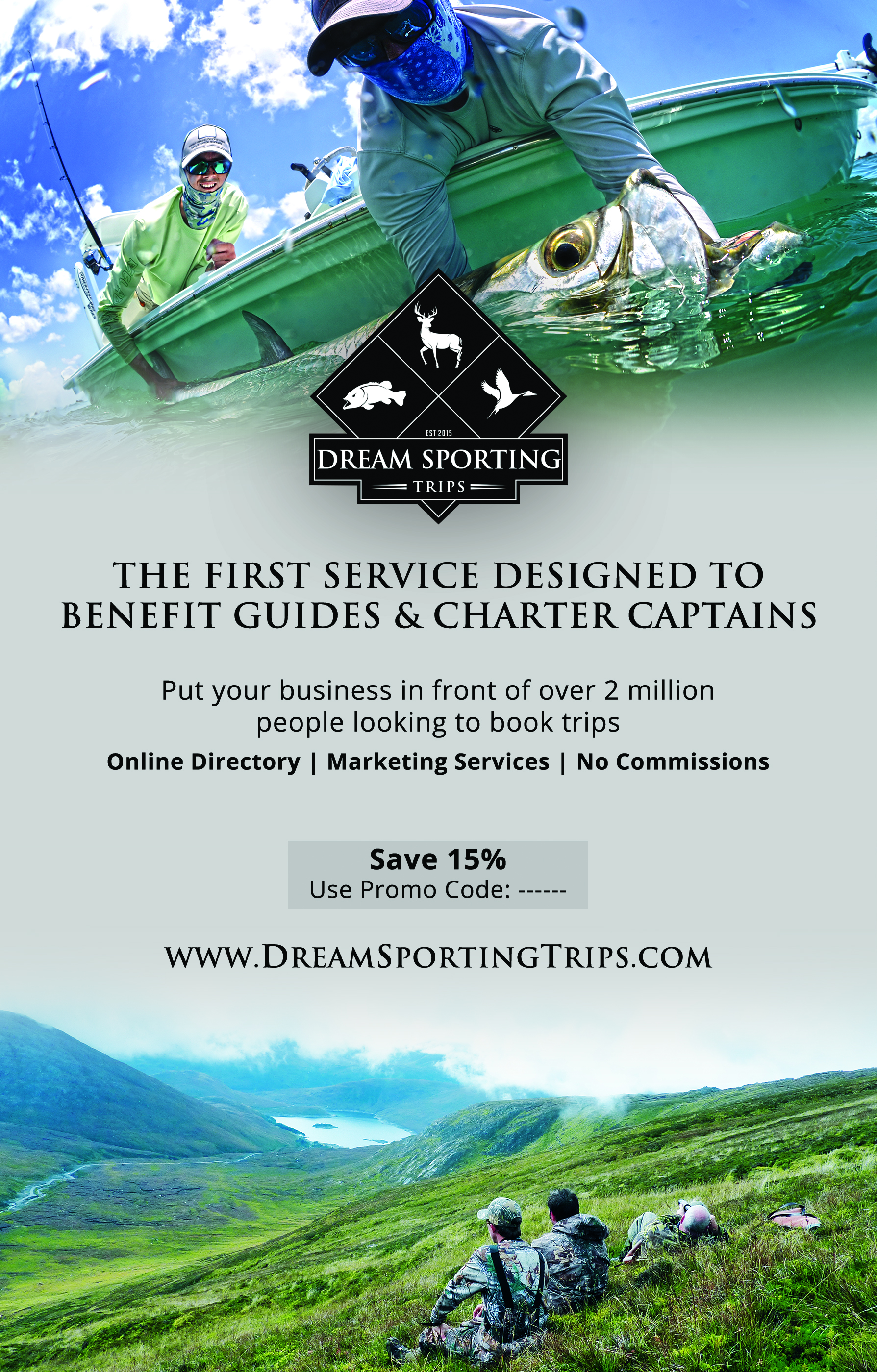 Dream Sporting Trips Magazine ad for Texas fish and game